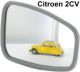 2CV, mirror on the left + on the right. Mirror glass with synthetic verge. Suitably for the original Citroen mirror. The change takes only 1-2 minutes. The problem of the mirrors is usually only that the glass become milky and the synthetic limit tears up. | Artnr: 16392 | Der Franzose - www.franzose.de